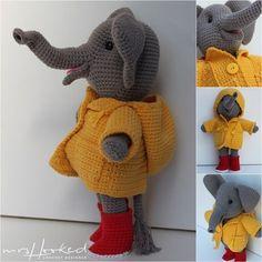 Olly im Regen. Crochet Animals, Crochet Toys, Crochet Baby, Knit Crochet, Crochet Elephant, Waldorf Dolls, Beautiful Crochet, Diy Fashion, Giraffe