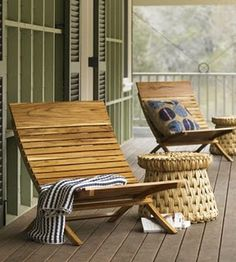 Teak chairs and woven side tables for the porch...love!