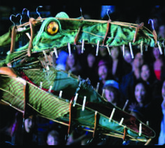 Croc made from found objects (Hangers, Clothes pins etc. Dragon Puppet, Marionette Puppet, Puppets, Theatre Props, Children's Theatre, Stage Props, Peter Pan Crocodile, Creation Activities, Children Of Eden