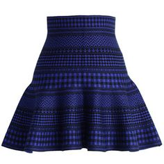 Chicwish Check and Stripes Knitted Mini Skirt in Blue