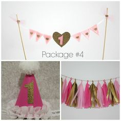Pink and Gold Birthday Party Package with party hat, tassel garland, and cake topper / bunting / flag banner by prettyposhshoppe