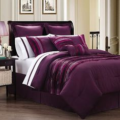 Navy Blue and White Hotel Duvet Comforter Cover 7 Piece Bedding Set for Queen Bed Plum Bedding, Purple Bedding Sets, Purple Rooms, Striped Bedding, Green Bedding, Comforter Cover, Comforter Sets, Purple Kitchen Accessories, Red Bedroom Design