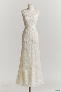 bhldn spring 2015 alhambra lace sleeveless wedding dress soft v neckline -- BHLDN Spring 2015 Wedding Dresses
