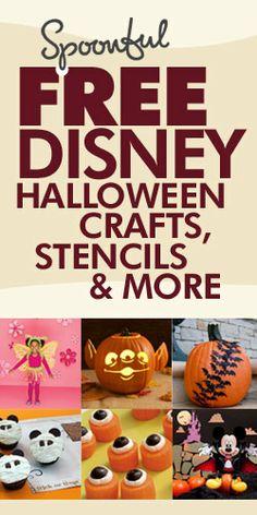 Free Disney Halloween Crafts, Stencils