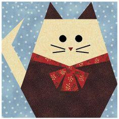 animal quilt blocks | Fat Cat Paper Pieced Quilt Block Pattern + Free Video Tutorial