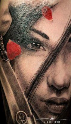 Close up of japanese samurai tattoo