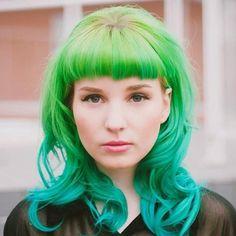 Mermaid mellon green to teal ombre hair color Bright Hair, Colorful Hair, Alternative Hair, Coloured Hair, Dye My Hair, Mermaid Hair, Green Hair, Aqua Hair, Crazy Hair