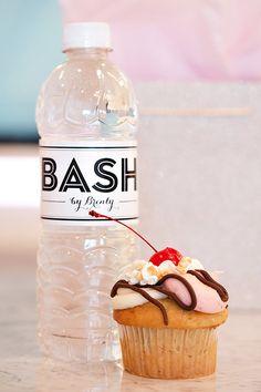 Get labels w/ logo & social media info for water bottles.