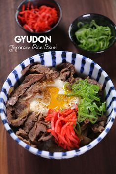 Jump to Recipe·Print Recipe Hi guys! Humble, easy yet super scrumptious Japanese Beef Rice Bowl, Gyudon! The thin tender beef is cooked in gingery sweet soy sauce with onion then… Spicy Miso Ramen Recipe, Easy Japanese Recipes, Asian Recipes, Curry Recipes, Beef Recipes, Meatball Recipes, Cooking Recipes, Beef Rice Bowl Recipe, Gastronomia