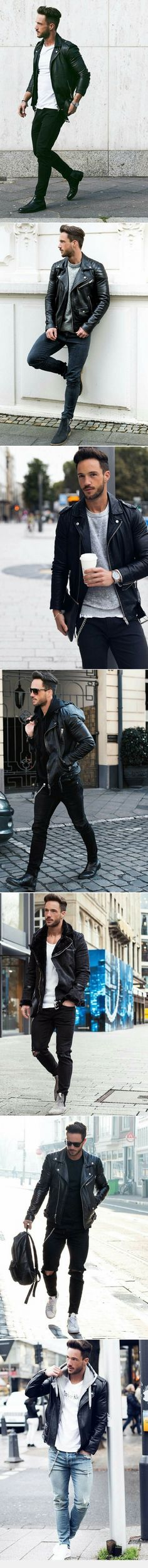 How to wear leather jacket on the street? See these amazing leather jacket outfit ideas.