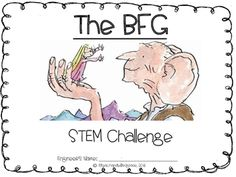 """This STEM challenge is a great activity to use after finishing the story, """"The BFG,"""" by Roald Dahl. It uses measurement skills, critical thinking, and the design principles to celebrate literature! I hope this challenge can be useful in your classroom! Bfg Activities, Roald Dahl Activities, English Activities, Bfg Roald Dahl, Roald Dalh, The Bfg Book, Reading Projects, 4th Grade Reading, Literature Circles"""