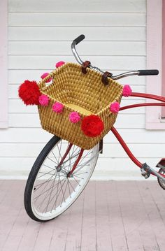 DIY Pom-Pom Bike Basket on Apartment Therapy