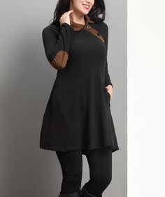 Loving this Black Elbow-Patch Button-Accent Tunic - Plus on #zulily! #zulilyfinds