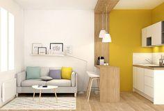 17 Maneras de convertir un departamento de un solo ambiente en un estudio acogedor Condo Living, Home And Living, Living Room Decor, Modern Living, Living Rooms, Kitchen Living, Interior Design Kitchen, Home Design, Kitchen Decor