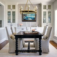 A casual dining room for a lovely Los Angeles area client. #mariannesimondesign #msdportfolio