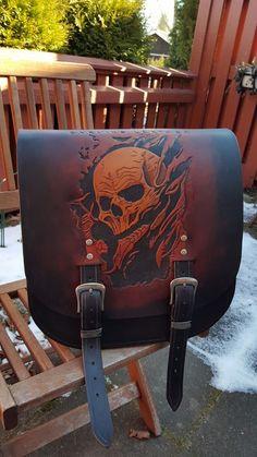 Tooled leather, Motorcycle saddle bag.