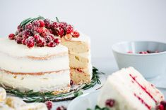 This cranberry vanilla bean cake will be the talk of the party! It is soft, flavorful, and has just a little bit of tart. Each bite will make you want to have more. Are you ready to make this cranberry cake? Almond Cakes, Fruit Birthday Cake, Fruit Wedding Cake, Christmas Cake Designs, Christmas Desserts, Food Cakes, Cupcake Cakes, Cupcakes, Kuchen