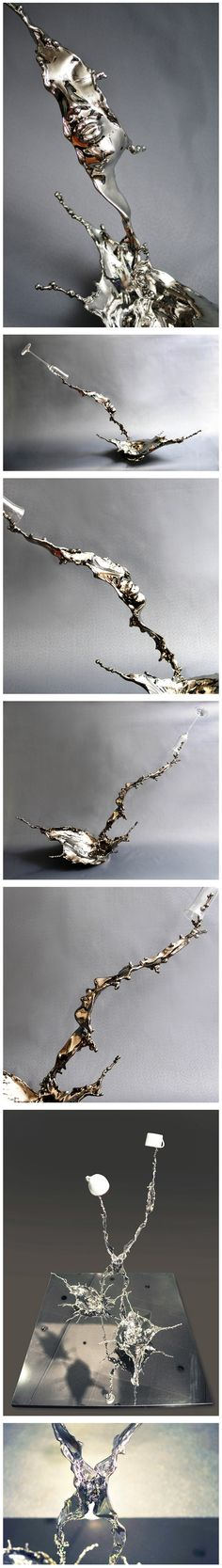 I first thought these were photos of mercury being thrown, and didn't even notice the faces as I was just admiring the shiny! :-s Stainless steel sculptures containing faces by Johnson Tsang.