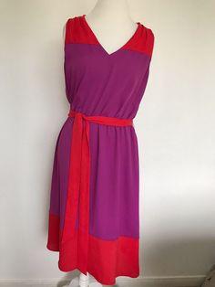 2f188064f55 Ann Taylor Loft Colorblock Dress purple Coral sz 14 Sleeveless V neck 1028