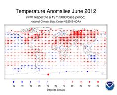 Record Numbers Grow; Fourth-Warmest June in History - June 2012 was not only the planet's fourth warmest June since record-keeping began in 1880, but also the 36th consecutive June and the 328th month in a row that global temperatures have risen above the 20th century average, reported the National Ocean and Atmospheric Administration (NOAA) on Monday in the agency's monthly State of the Climate report.