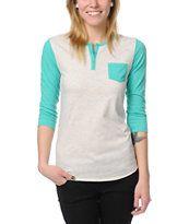 Zine Girls Henley Oatmeal & Green Baseball Tee Shirt
