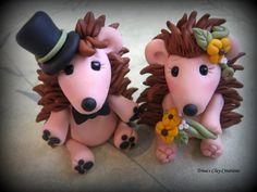 Hedgehog Wedding Cake Topper ~ Trina's Clay Creations via Etsy.