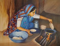 Rustic Woman Tending To Her Home, Oils Oil Painting on CanvasArtist: Anup Gomay Village Scene Drawing, Art Village, Rajasthani Painting, Rajasthani Art, Indian Women Painting, Indian Art Paintings, Art Drawings For Kids, Art Drawings Sketches, Indian Folk Art