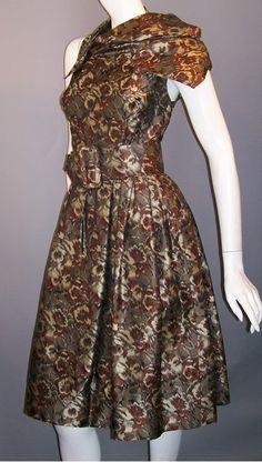 rare Gustave Tassell 1950s dress with unusual should scarf, DCV archives