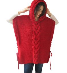 Red Plus Size Cable Knit Poncho with Hoodie by Afra by afra