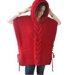 Rojo y tamaño Cable Poncho tejido con capucha por Afra por afra