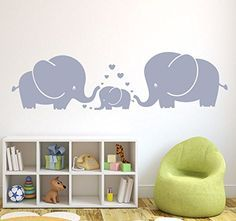 Amazon.com: LUCKKYY® Cute Three family Elephant Wall Decals for kid Room Room Decor Baby Nursery (Gray): Home Improvement