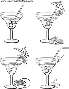 coloring pages wine food animals people | Sketch cocktails and alcohol drinks set. Hand drawn vector ...