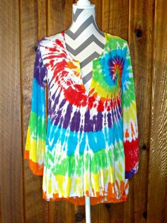 Rainbow Spiral High Low Tunic Top Cover-up Bell 3/4 Sleeve Tie Dye Rayon Blouse #LocalCelebrity #Tunic #Casual