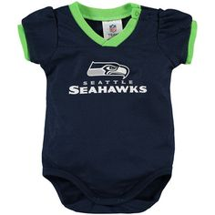 Girls Infant College Navy Seattle Seahawks Infant Girls Dazzle Bodysuit f6f3e8aad