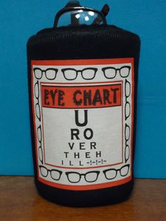 EYE CHART Over The Hill Stand-up EyeGlass Holder Case 4 nite stand desk kitchen Den Makes a sweet gift for any office friend. $9.95, via Etsy.