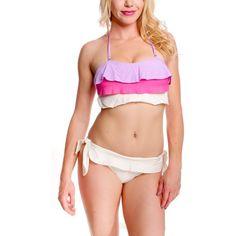 Light Purple Halter Ruffle Layered Bikini Swimsuit ($28) ❤ liked on Polyvore featuring swimwear, bikinis, halter bathing suit, swimsuit swimwear, swimsuits bikinis, bikini swimwear and bikini bathing suits Purple Bathing Suit, Bathing Suits, Bikini Swimwear, Swimsuits, Bikinis, Exclusive Collection, Light Purple, Plus Size Dresses, Tankini