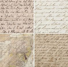 A dozen squares of vintage love letters (from the 1700s), maps, and ancient parchment. Printable collage sheet by piddix.