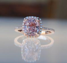2.8ct Cushion raspberry peach champagne sapphire 14k rose gold diamond ring engagement ring
