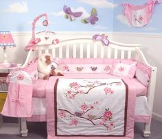 cherry blossom nursery bedding set | Cherry Blossom Crib Nursery Bedding Set | Baby girl theme ideas