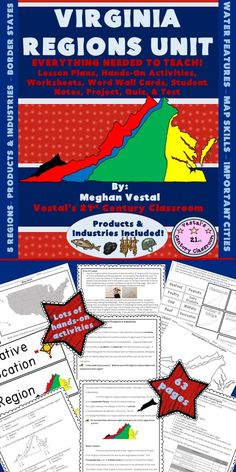 This Virginia Regions Unit has everything needed to teach a Virginia Studies unit on the geography, products, and industries of Virginia!  Regions, surrounding states, water features, map skills, products, and industries are all covered!  Lots of hands-on activities and project based learning featured.