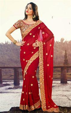 Magnificent Red Chiffon Indian Wedding Sari IDE97525828 - www.indianwardrobe.com