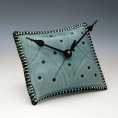 clay pillow shaped clock by Creativewithclay Cool Clocks, Unique Wall Clocks, Clock Art, Clock Decor, Tick Tock Clock, Funny Pillows, How To Make Wall Clock, Animal Pillows, Fabric Decor