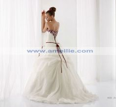 White and Red Flowers Wedding Dress