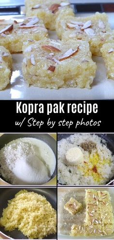 Kopra pak recipe - This is Gujarati style of making coconut burfi. This sweet or mithai is made from freshly grated coconut, sugar, milk and mawa. Sweet Dishes Recipes, Sweets Recipes, Fun Desserts, Diwali Special Recipes, Diwali Recipes, Holi Sweets, Burfi Recipe, Diwali Food, Coconut Burfi