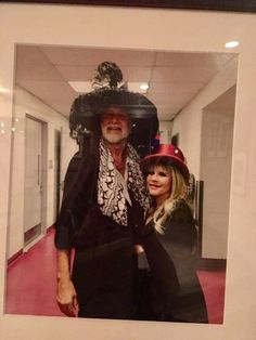 Mick Fleetwood and tiny Stevie ~ ☆♥❤♥☆ ~ wearing each other's hats after a Halloween concert ( I think) a few years ago