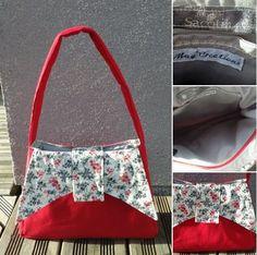 #Sac Ava par Mag'Créations en coton rouge vif et tissu fleuri noir et rouge ! Patron de #couture Sacôtin