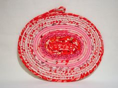 Valentine's Day Coiled Fabric Candle Mat Table Mat by zizzybob