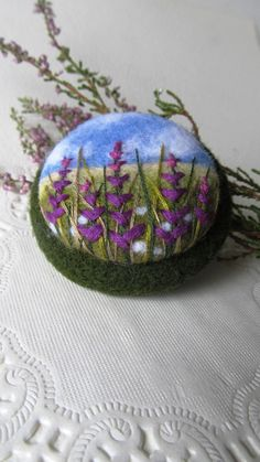 Needle felted brooch with embroideryWool felt от FeltAccessories