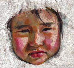 Snow girl- original art portrait - Pastel drawing - Illustration- color pencils drawing, Human Face , child portrait-original artwork