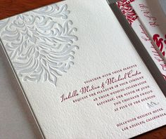Silver and pink filigree inspired floral motif wedding invitation with matching silver pocket folder.  | Invitations by Ajalon | invitationsbyajalon.com